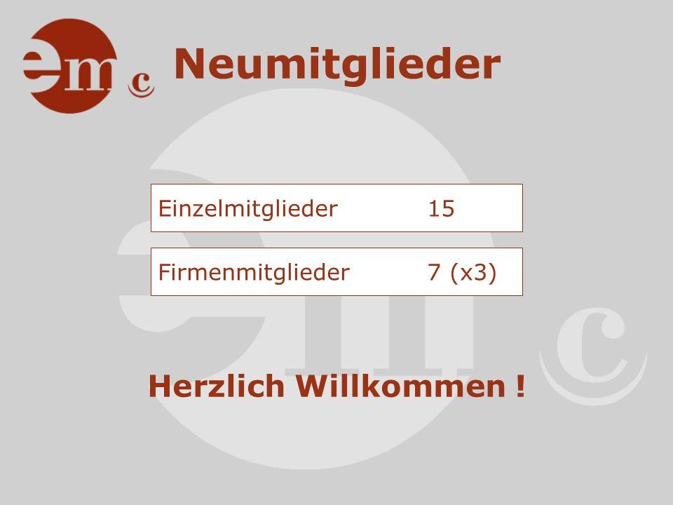 Infos Mitgliederstruktur Einzelmitglieder120 Firmenmitglieder 54 (x3) Total Mitglieder282