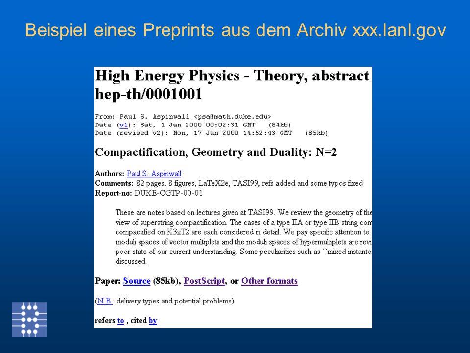 Beispiel eines Preprints aus dem Archiv xxx.lanl.gov