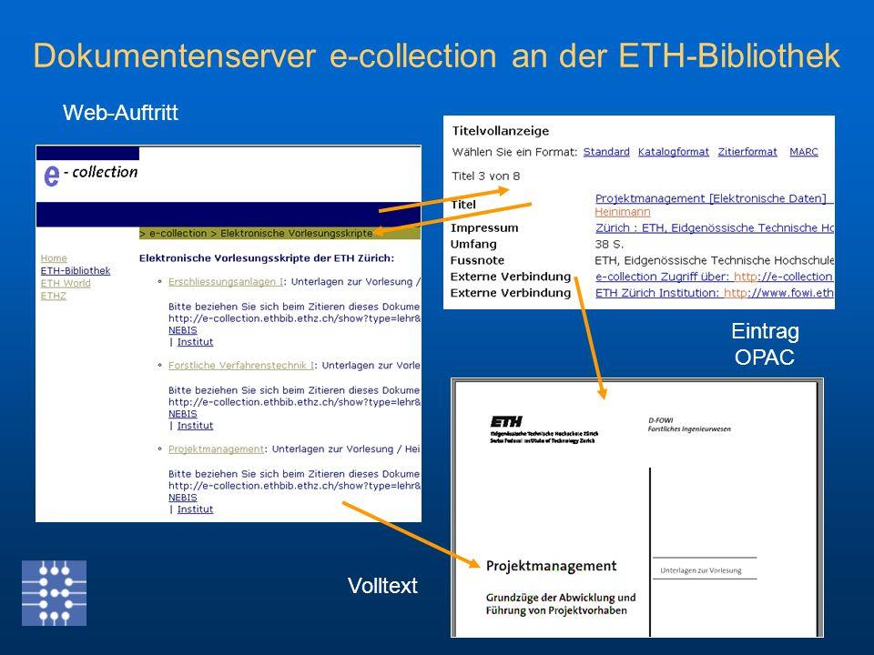 Eintrag OPAC Web-Auftritt Volltext Dokumentenserver e-collection an der ETH-Bibliothek