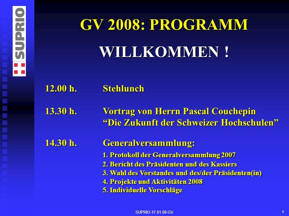 SUPRIO-17.01.08-GV 12 CH-Forschung (3) Argumente pro/contra Bewährte, funktionierende Infrastruktur des idw.Bewährte, funktionierende Infrastruktur des idw.