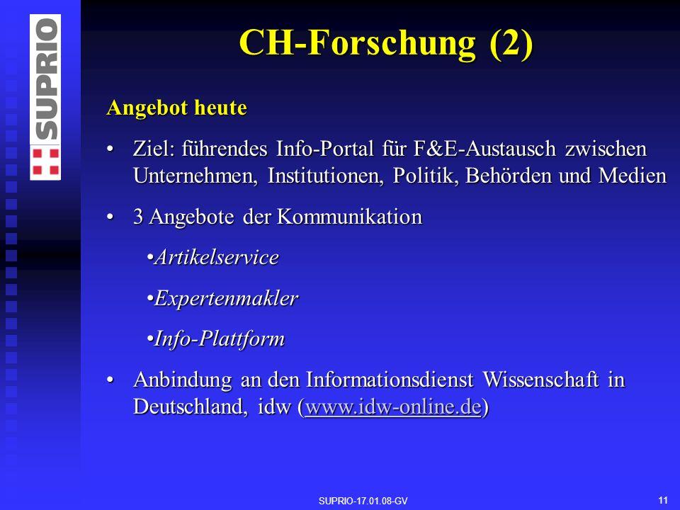 SUPRIO-17.01.08-GV 11 CH-Forschung (2) Angebot heute Ziel: führendes Info-Portal für F&E-Austausch zwischen Unternehmen, Institutionen, Politik, Behörden und MedienZiel: führendes Info-Portal für F&E-Austausch zwischen Unternehmen, Institutionen, Politik, Behörden und Medien 3 Angebote der Kommunikation3 Angebote der Kommunikation ArtikelserviceArtikelservice ExpertenmaklerExpertenmakler Info-PlattformInfo-Plattform Anbindung an den Informationsdienst Wissenschaft in Deutschland, idw (www.idw-online.de)Anbindung an den Informationsdienst Wissenschaft in Deutschland, idw (www.idw-online.de)www.idw-online.de
