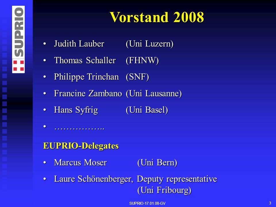 SUPRIO-17.01.08-GV 3 Vorstand 2008 Judith Lauber (Uni Luzern)Judith Lauber (Uni Luzern) Thomas Schaller (FHNW)Thomas Schaller (FHNW) Philippe Trinchan (SNF)Philippe Trinchan (SNF) Francine Zambano (Uni Lausanne)Francine Zambano (Uni Lausanne) Hans Syfrig (Uni Basel)Hans Syfrig (Uni Basel) ……………..……………..