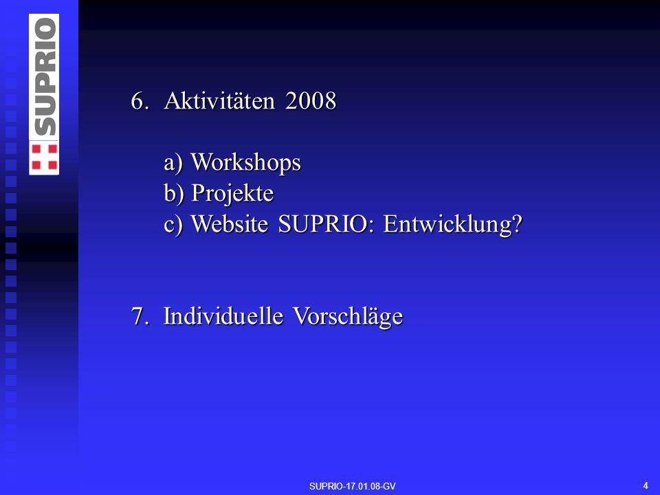 SUPRIO-17.01.08-GV 4 6.Aktivitäten 2008 a) Workshops b) Projekte c) Website SUPRIO: Entwicklung.