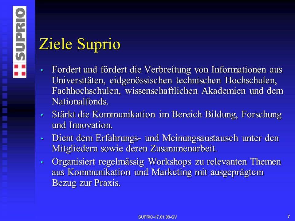 SUPRIO-17.01.08-GV 7 Ziele Suprio Fordert und fördert die Verbreitung von Informationen aus Universitäten, eidgenössischen technischen Hochschulen, Fachhochschulen, wissenschaftlichen Akademien und dem Nationalfonds.