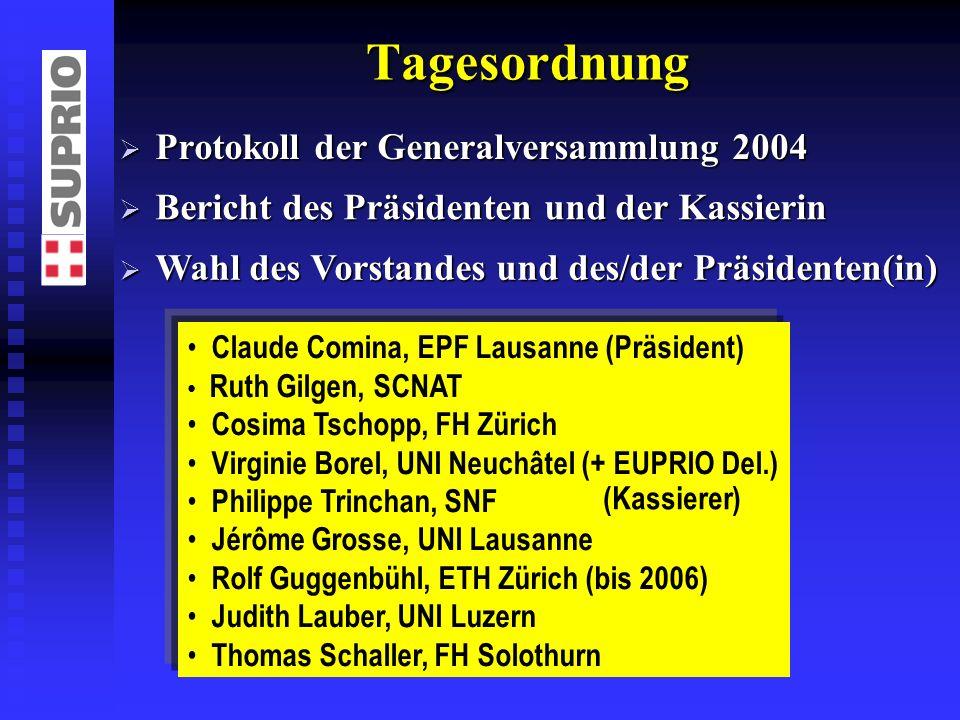 Tagesordnung Protokoll der Generalversammlung 2004 Protokoll der Generalversammlung 2004 Bericht des Präsidenten und der Kassierin Bericht des Präside