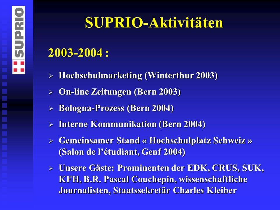 SUPRIO-Aktivitäten 2003-2004 : Hochschulmarketing (Winterthur 2003) Hochschulmarketing (Winterthur 2003) On-line Zeitungen (Bern 2003) On-line Zeitung