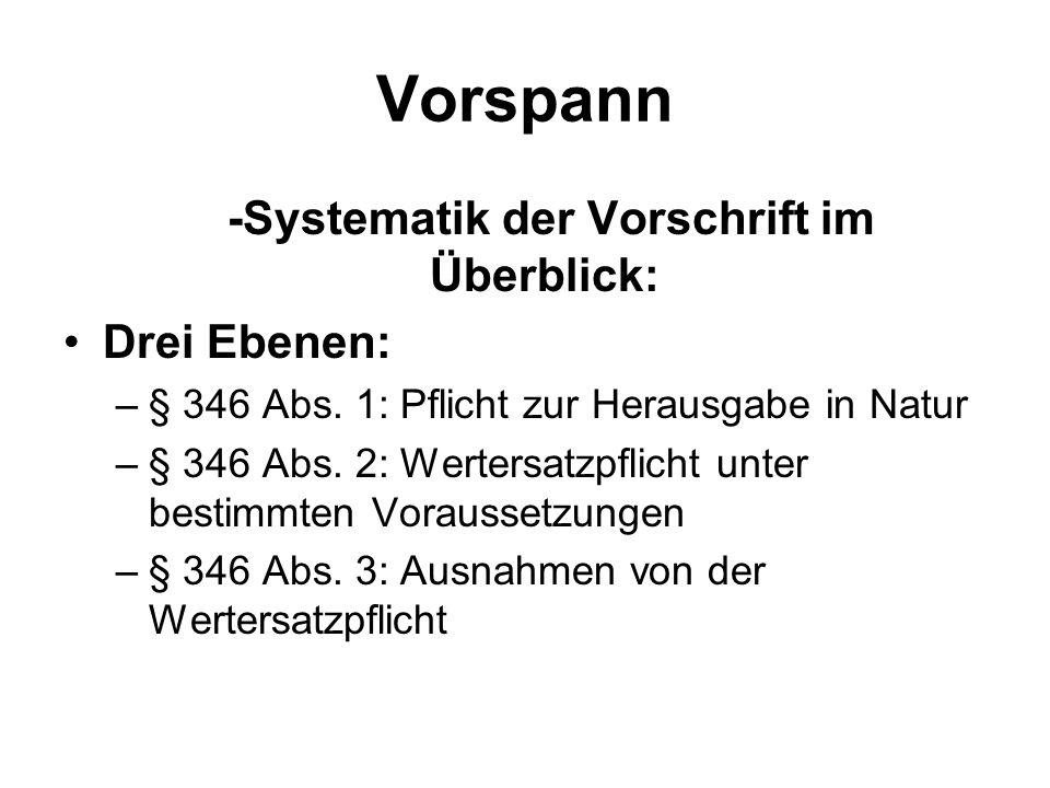 Vorspann -Systematik der Vorschrift im Überblick: Drei Ebenen: –§ 346 Abs.