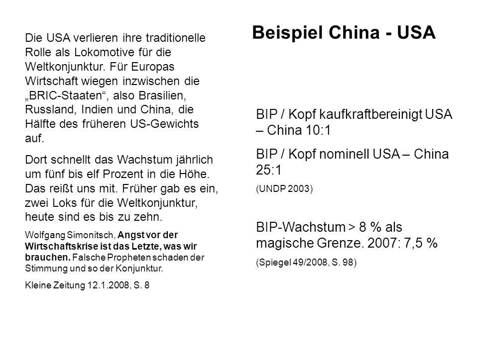 Beispiel China - USA Die USA verlieren ihre traditionelle Rolle als Lokomotive für die Weltkonjunktur.