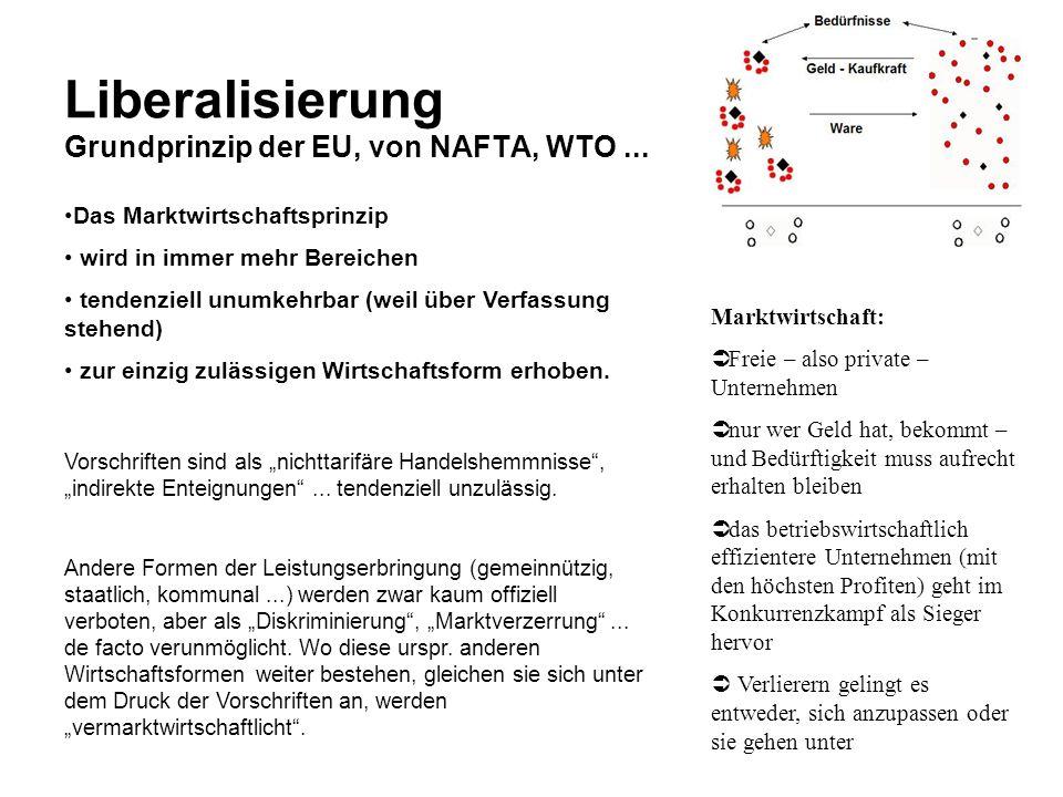 Liberalisierung Grundprinzip der EU, von NAFTA, WTO... Marktwirtschaft: Freie – also private – Unternehmen nur wer Geld hat, bekommt – und Bedürftigke