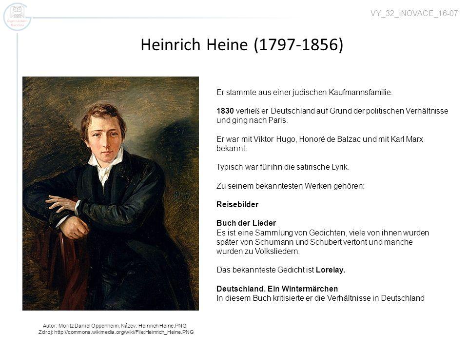 Heinrich Heine (1797-1856) Autor: Moritz Daniel Oppenheim, Název: Heinrich Heine.PNG, Zdroj: http://commons.wikimedia.org/wiki/File:Heinrich_Heine.PNG Er stammte aus einer jüdischen Kaufmannsfamilie.