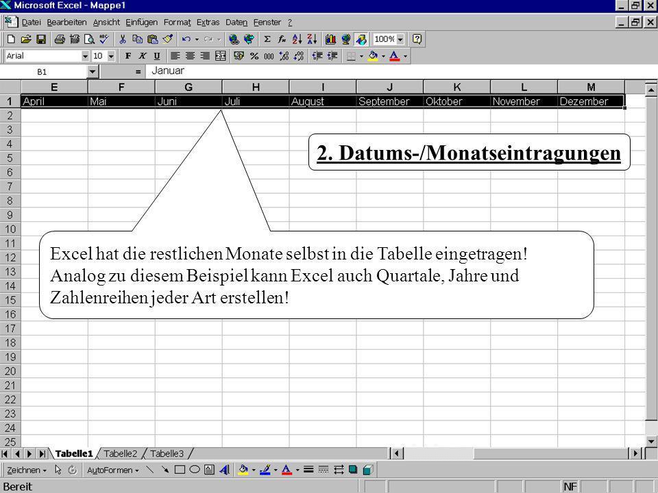 Excel hat die restlichen Monate selbst in die Tabelle eingetragen! Analog zu diesem Beispiel kann Excel auch Quartale, Jahre und Zahlenreihen jeder Ar