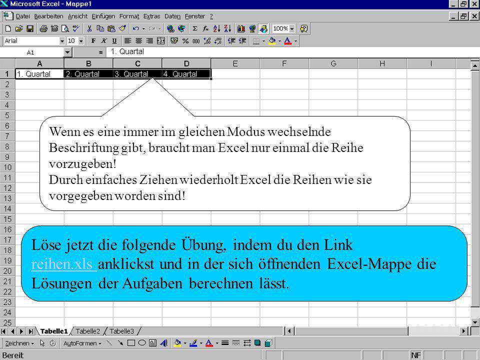 Wenn es eine immer im gleichen Modus wechselnde Beschriftung gibt, braucht man Excel nur einmal die Reihe vorzugeben! Durch einfaches Ziehen wiederhol