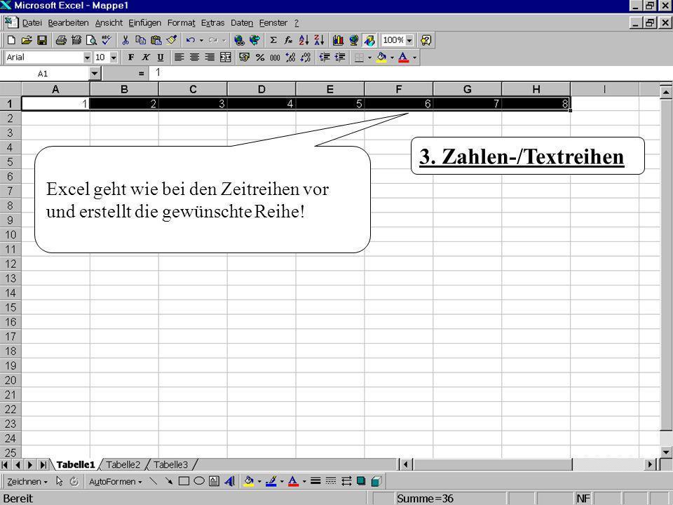Excel geht wie bei den Zeitreihen vor und erstellt die gewünschte Reihe! 3. Zahlen-/Textreihen