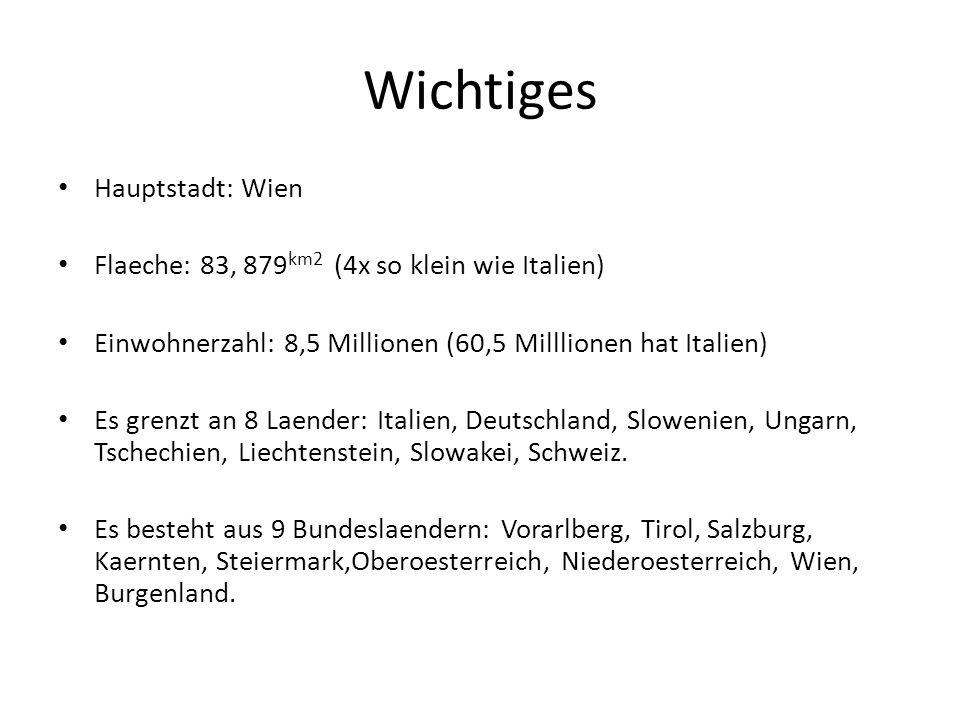 Wien Einwohnerzahl: 1,8 Millionen Wahrzeichen: Riesenrad Bekannte Sehenswuerdigkeiten: Stephansdom, Schoenbrunn, Belvedere und Staatsoper.