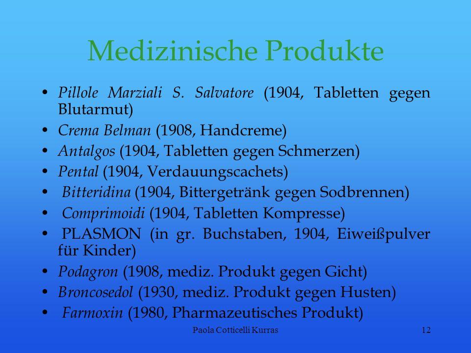 Paola Cotticelli Kurras12 Medizinische Produkte Pillole Marziali S. Salvatore (1904, Tabletten gegen Blutarmut) Crema Belman (1908, Handcreme) Antalgo