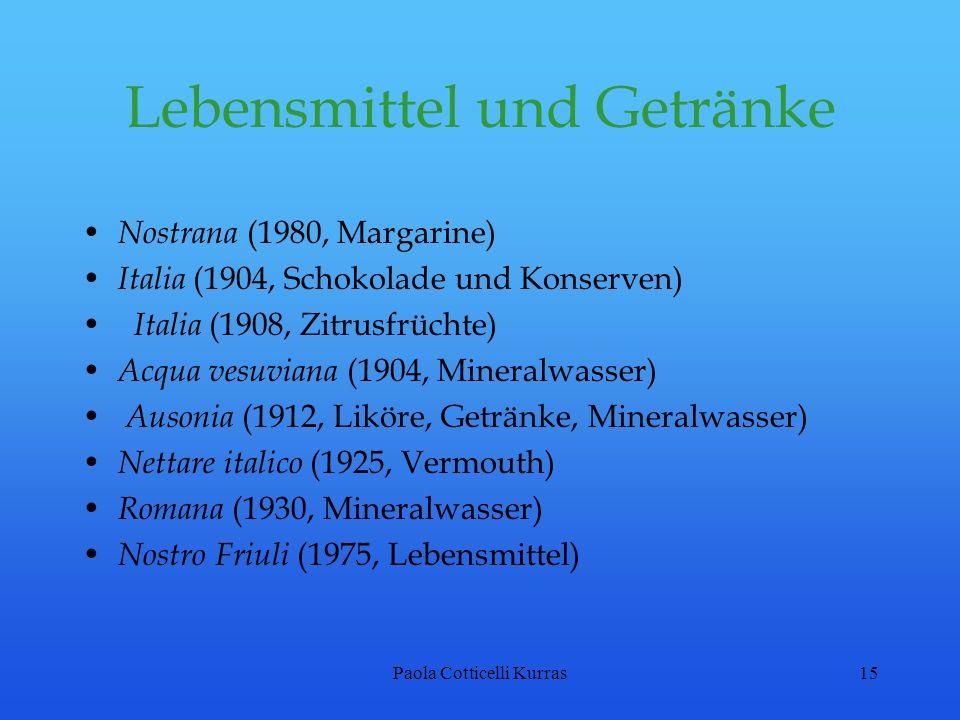 Paola Cotticelli Kurras15 Lebensmittel und Getränke Nostrana (1980, Margarine) Italia (1904, Schokolade und Konserven) Italia (1908, Zitrusfrüchte) Ac