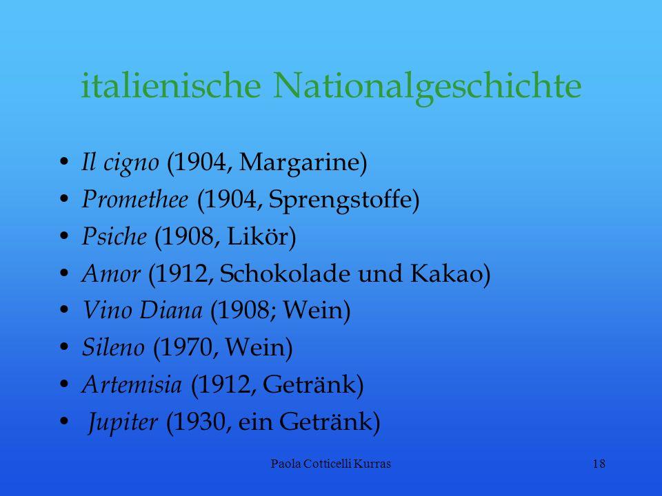Paola Cotticelli Kurras18 italienische Nationalgeschichte Il cigno (1904, Margarine) Promethee (1904, Sprengstoffe) Psiche (1908, Likör) Amor (1912, S