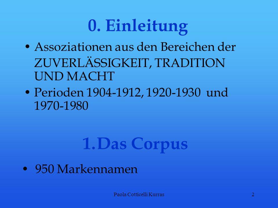 Paola Cotticelli Kurras2 0. Einleitung Assoziationen aus den Bereichen der ZUVERLÄSSIGKEIT, TRADITION UND MACHT Perioden 1904-1912, 1920-1930 und 1970