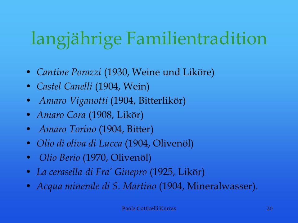 Paola Cotticelli Kurras20 langjährige Familientradition Cantine Porazzi (1930, Weine und Liköre) Castel Canelli (1904, Wein) Amaro Viganotti (1904, Bi