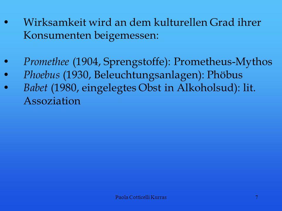Paola Cotticelli Kurras7 Wirksamkeit wird an dem kulturellen Grad ihrer Konsumenten beigemessen: Promethee (1904, Sprengstoffe): Prometheus-Mythos Pho