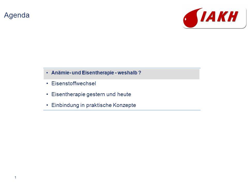 1 Agenda Anämie- und Eisentherapie - weshalb ? Eisenstoffwechsel Eisentherapie gestern und heute Einbindung in praktische Konzepte