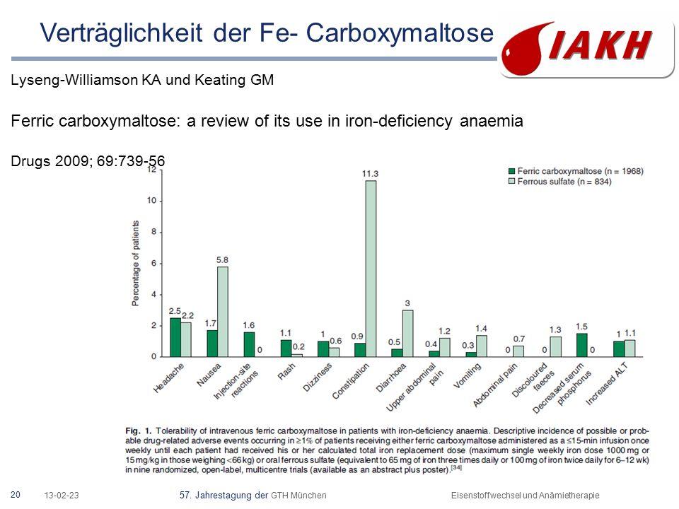 20 13-02-23 57. Jahrestagung der GTH MünchenEisenstoffwechsel und Anämietherapie Lyseng-Williamson KA und Keating GM Ferric carboxymaltose: a review o