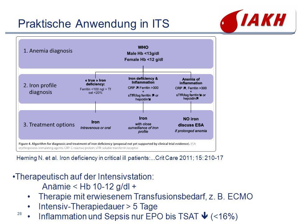 28 Praktische Anwendung in ITS Therapeutisch auf der Intensivstation: Anämie < Hb 10-12 g/dl + Therapie mit erwiesenem Transfusionsbedarf, z. B. ECMO