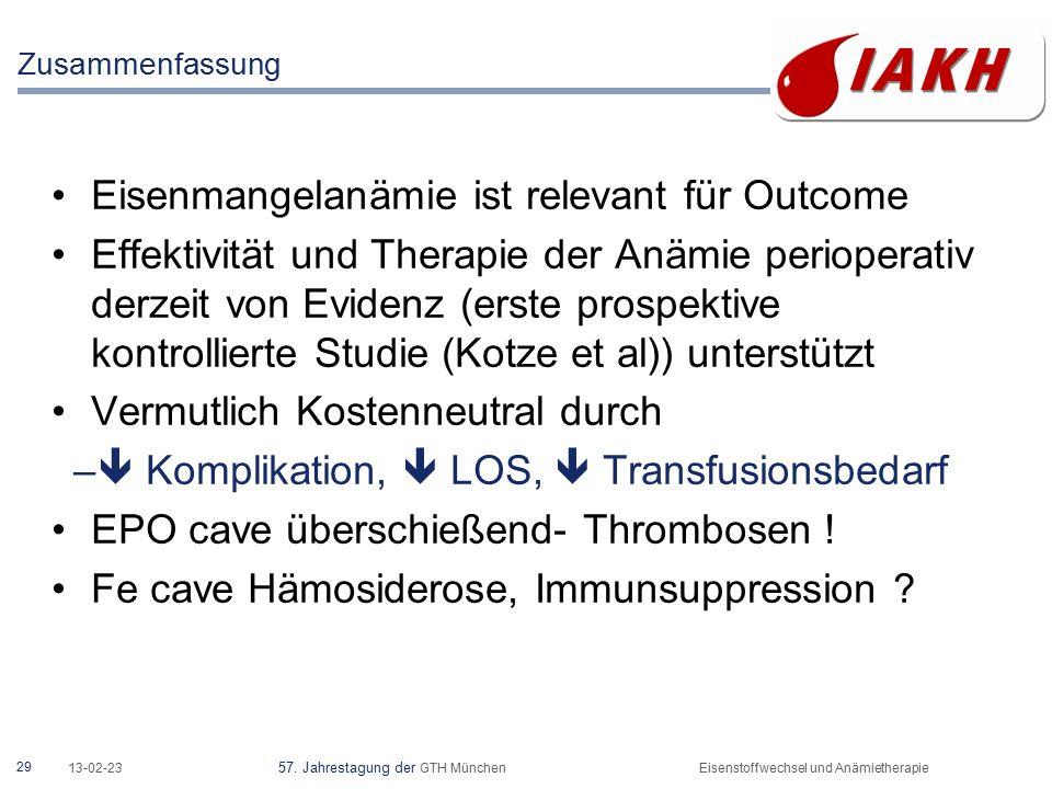 29 13-02-23 57. Jahrestagung der GTH MünchenEisenstoffwechsel und Anämietherapie Eisenmangelanämie ist relevant für Outcome Effektivität und Therapie