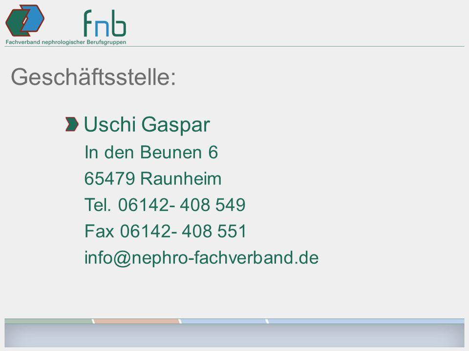 Geschäftsstelle: Uschi Gaspar In den Beunen 6 65479 Raunheim Tel.