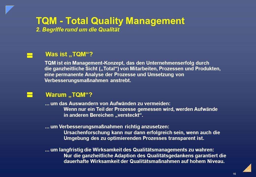 """16 SiG TQM - Total Quality Management 2.Begriffe rund um die Qualität Was ist """"TQM ."""
