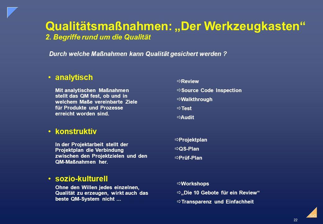 """22 SiG Qualitätsmaßnahmen: """"Der Werkzeugkasten 2."""
