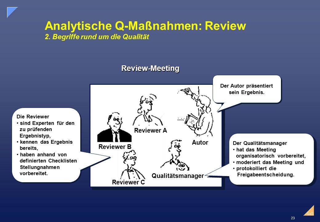 23 SiG Analytische Q-Maßnahmen: Review 2.
