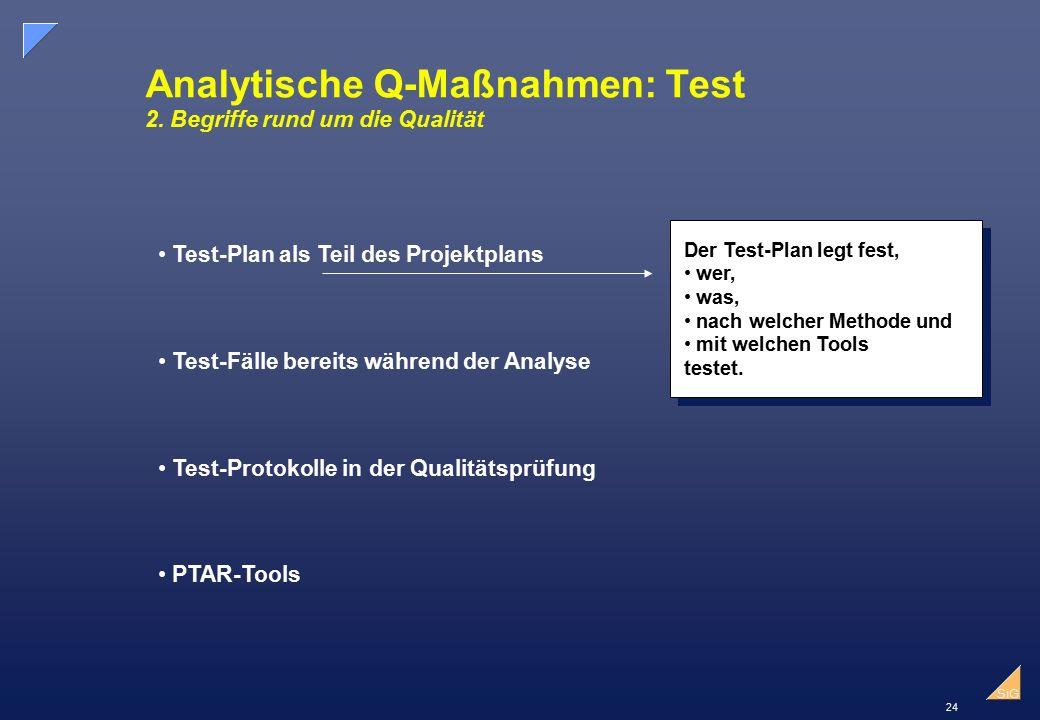 24 SiG Analytische Q-Maßnahmen: Test 2.