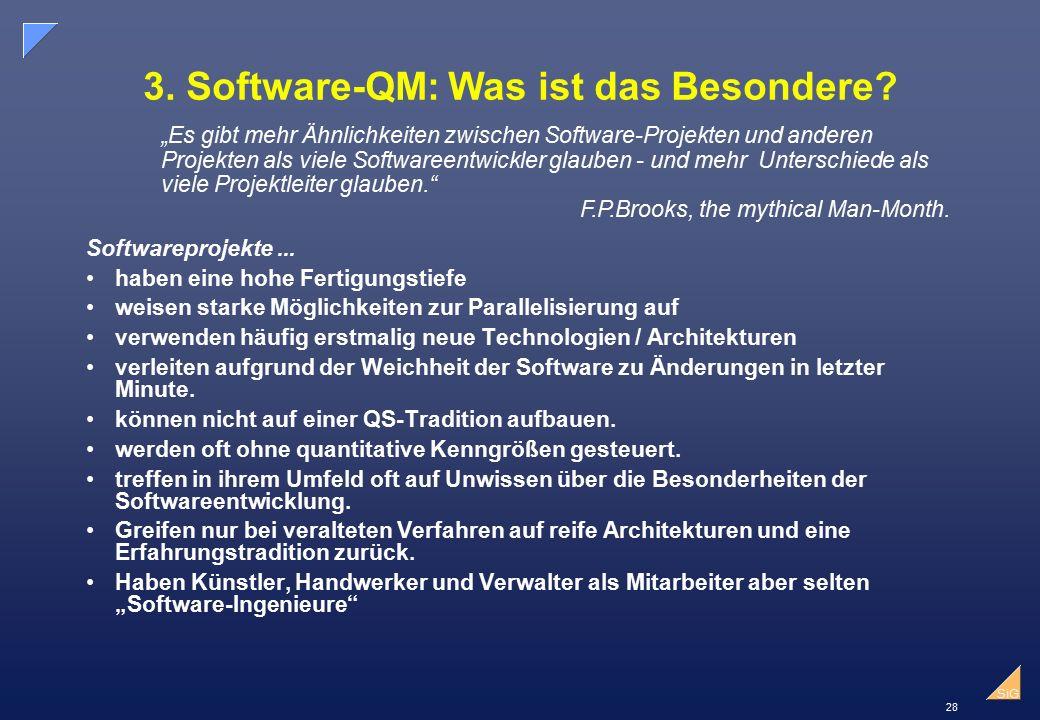 28 SiG 3.Software-QM:Was ist das Besondere. Softwareprojekte...