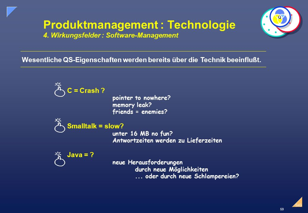 59 SiG Produktmanagement : Technologie 4. Wirkungsfelder : Software-Management C = Crash ? pointer to nowhere? memory leak? friends = enemies? Smallta