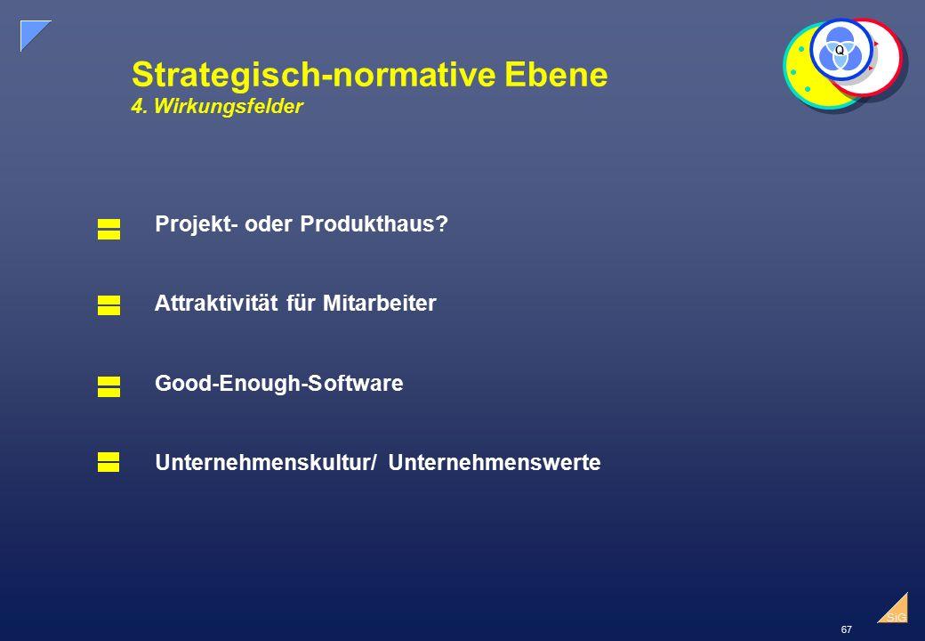 67 SiG Strategisch-normative Ebene 4.Wirkungsfelder Q Projekt- oder Produkthaus.