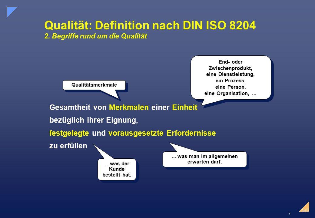 7 SiG Qualität: Definition nach DIN ISO 8204 2.