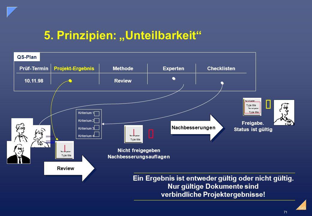 """71 SiG 5.Prinzipien: """"Unteilbarkeit 1."""