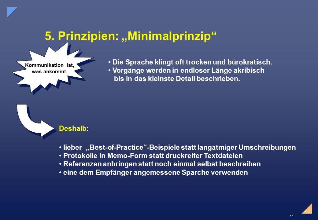 """77 SiG 5.Prinzipien: """"Minimalprinzip Kommunikation ist, was ankommt."""