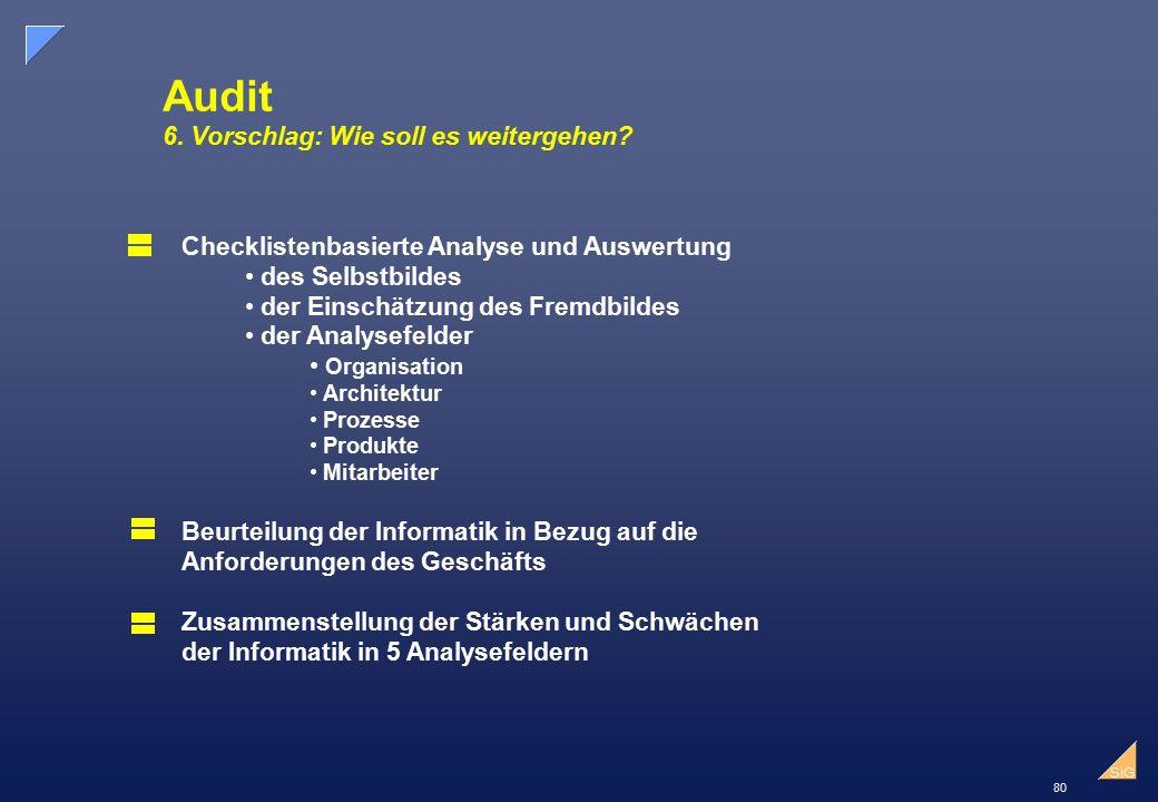 80 SiG Audit 6.Vorschlag: Wie soll es weitergehen.