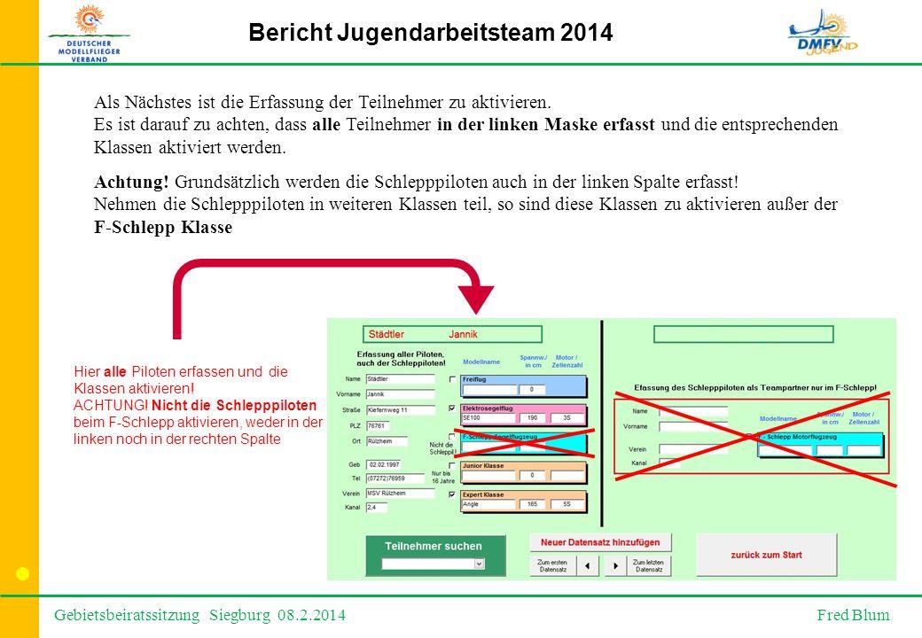 Gebietsbeiratssitzung Siegburg 08.2.2014 Fred Blum Bericht Jugendarbeitsteam 2014 Als Nächstes ist die Erfassung der Teilnehmer zu aktivieren.