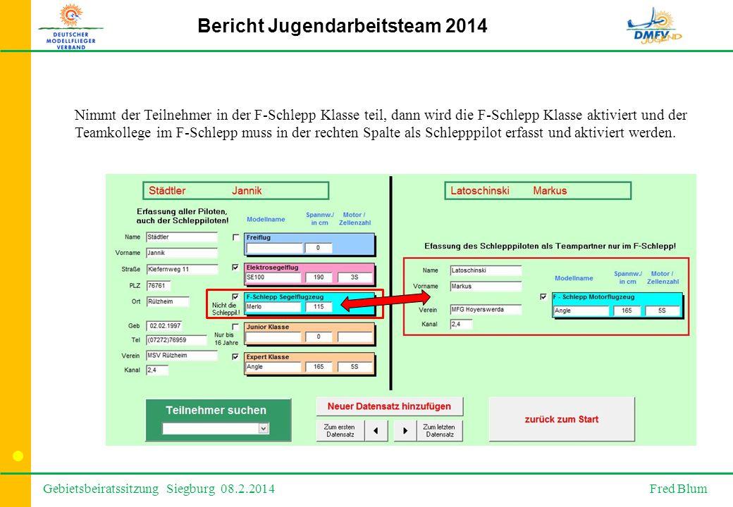 Gebietsbeiratssitzung Siegburg 08.2.2014 Fred Blum Bericht Jugendarbeitsteam 2014 Nimmt der Teilnehmer in der F-Schlepp Klasse teil, dann wird die F-Schlepp Klasse aktiviert und der Teamkollege im F-Schlepp muss in der rechten Spalte als Schlepppilot erfasst und aktiviert werden.