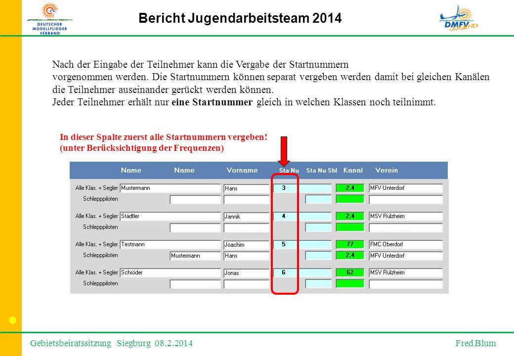Gebietsbeiratssitzung Siegburg 08.2.2014 Fred Blum Bericht Jugendarbeitsteam 2014 Nach der Eingabe der Teilnehmer kann die Vergabe der Startnummern vorgenommen werden.