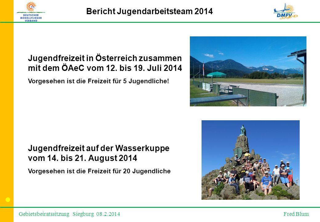 Gebietsbeiratssitzung Siegburg 08.2.2014 Fred Blum Bericht Jugendarbeitsteam 2014 Jugendfreizeit in Österreich zusammen mit dem ÖAeC vom 12.