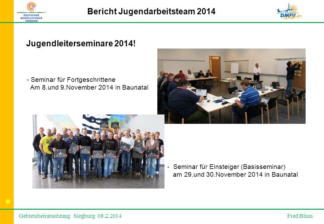 Gebietsbeiratssitzung Siegburg 08.2.2014 Fred Blum Bericht Jugendarbeitsteam 2014 Jugendleiterseminare 2014.