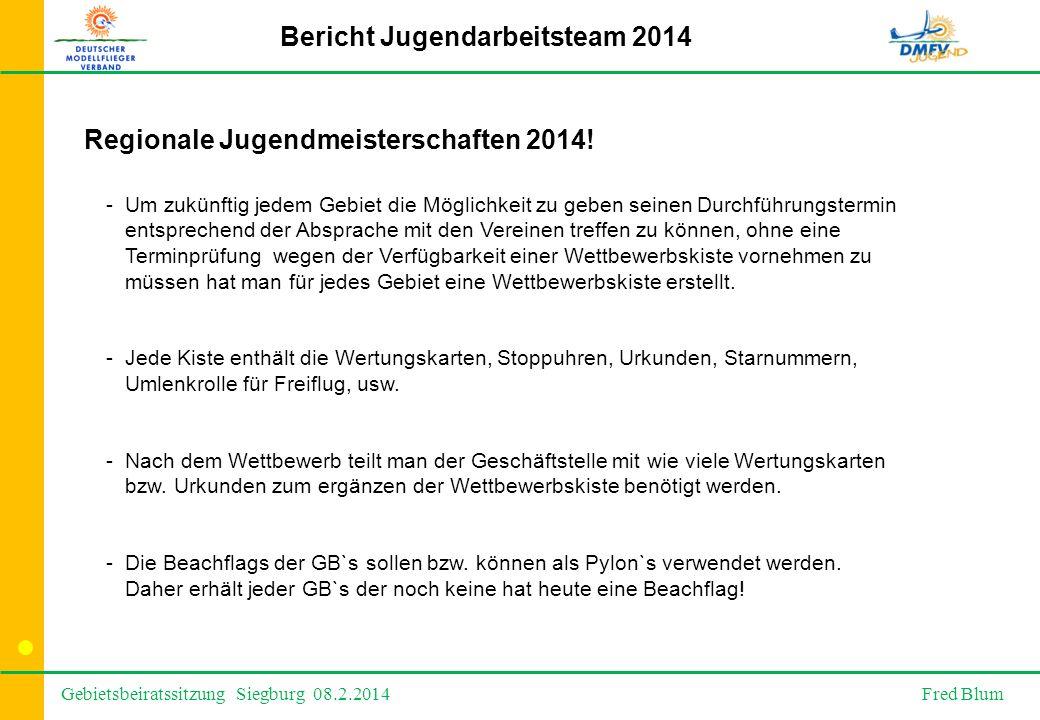 Gebietsbeiratssitzung Siegburg 08.2.2014 Fred Blum Bericht Jugendarbeitsteam 2014 Regionale Jugendmeisterschaften 2014.