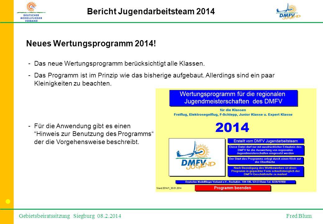 Gebietsbeiratssitzung Siegburg 08.2.2014 Fred Blum Bericht Jugendarbeitsteam 2014 Neues Wertungsprogramm 2014.
