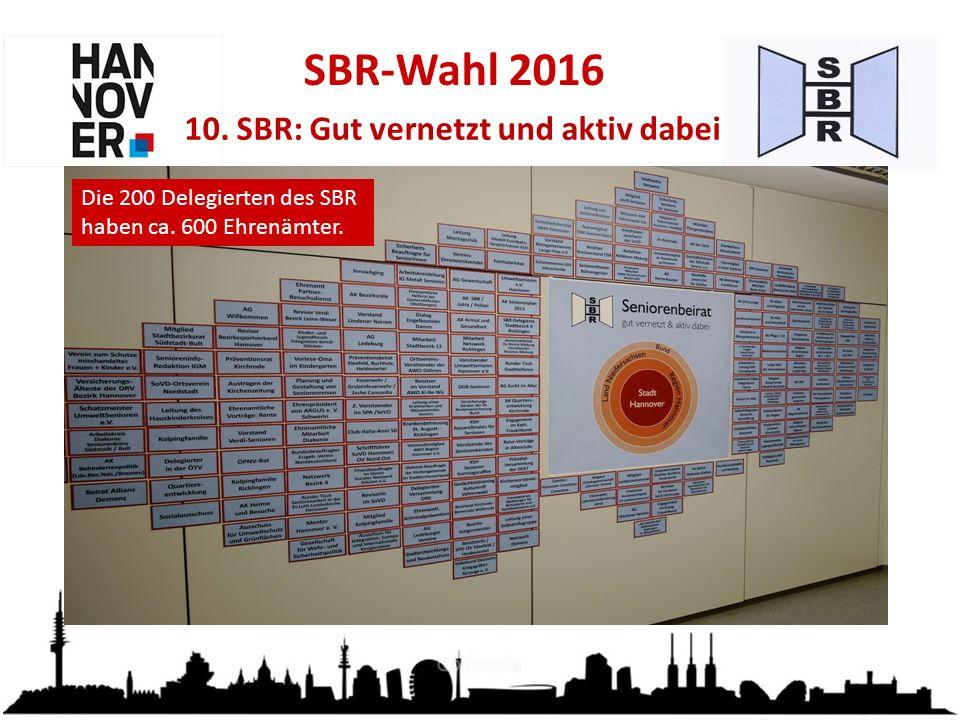 SBR-Wahl 2016 10. SBR: Gut vernetzt und aktiv dabei Die 200 Delegierten des SBR haben ca.