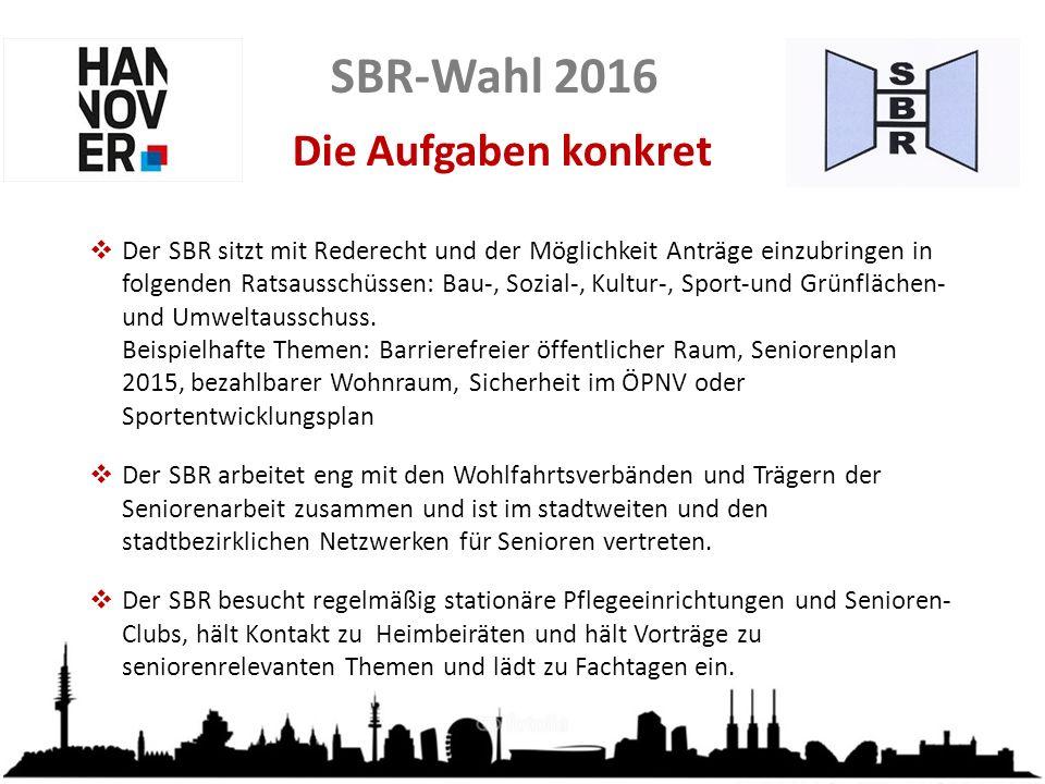 Die Aufgaben konkret  Der SBR sitzt mit Rederecht und der Möglichkeit Anträge einzubringen in folgenden Ratsausschüssen: Bau-, Sozial-, Kultur-, Sport-und Grünflächen- und Umweltausschuss.
