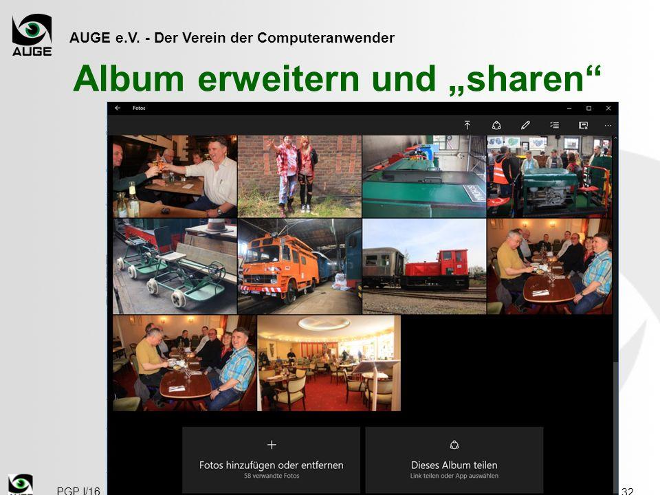 """AUGE e.V. - Der Verein der Computeranwender Album erweitern und """"sharen 32 PGP I/16"""